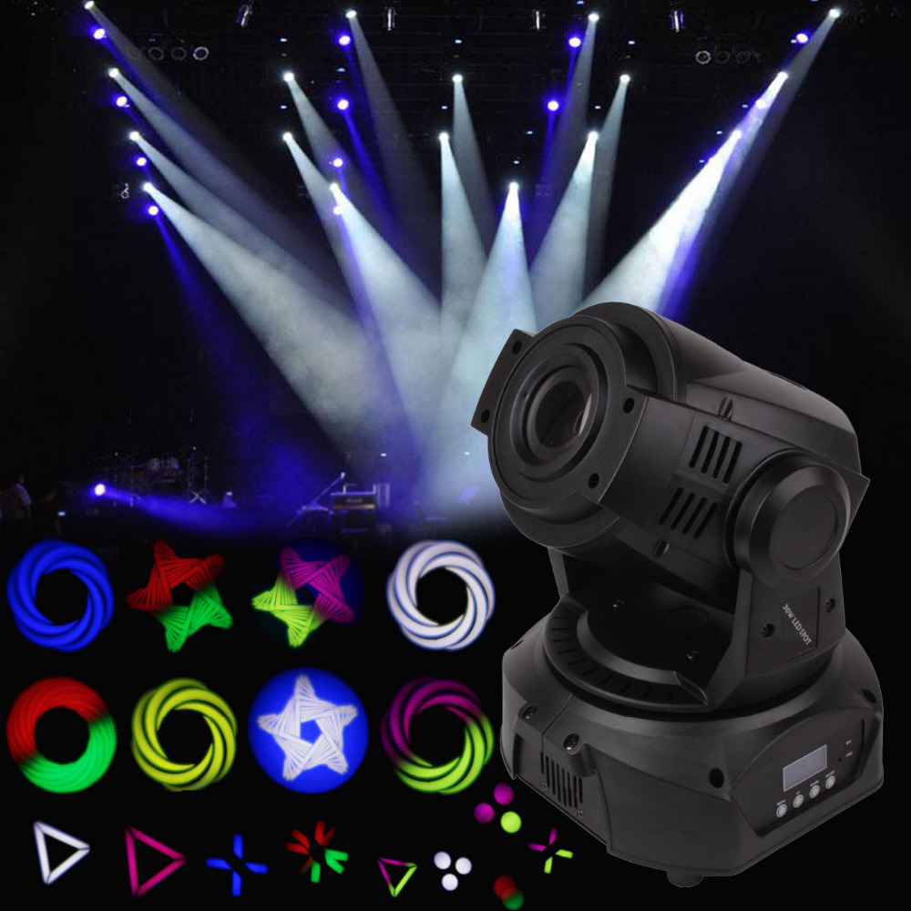 30W LED Spot Moving Head Light 12CH DJ Stage Show Disco Bar Lighting DMX512 4pcs lot 30w led gobo moving head light led spot light ktv disco dj lighting dmx512 stage effect lights 30w led patterns lamp