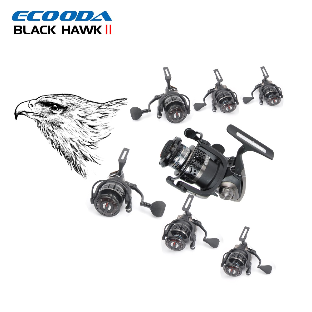 ECOODA Black Hawk II 1500-5000 Metal Spool Spinning Fishing Reels Saltwater/Freshwater Boat Rock Bass Lure Jigging Fishing Reel free shipping black hawk ecooda second generation metal body spinning reell lure fishing reel fish reel