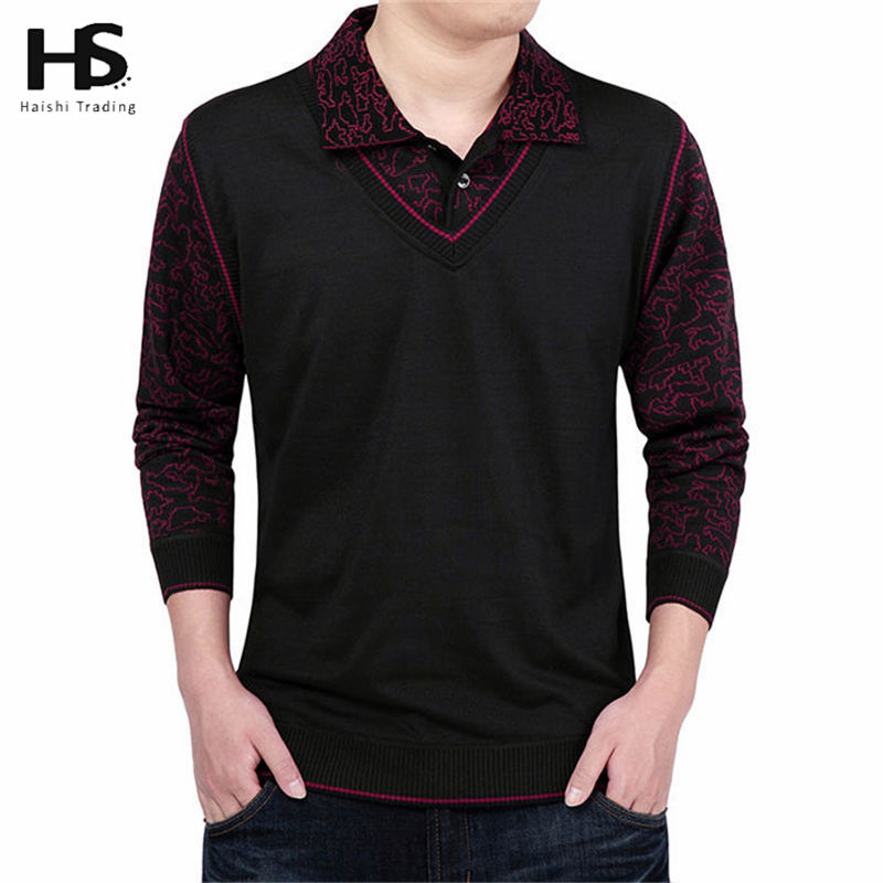Fashion false two wool sweater men clothing mens sweaters for Mens long sleeve pullover shirts