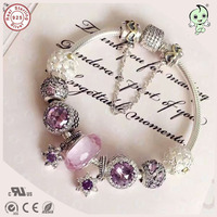 New Arrival European Famous Brand Gift Silver JewelryPurple Star And Pink Heart Charm Series 100 925
