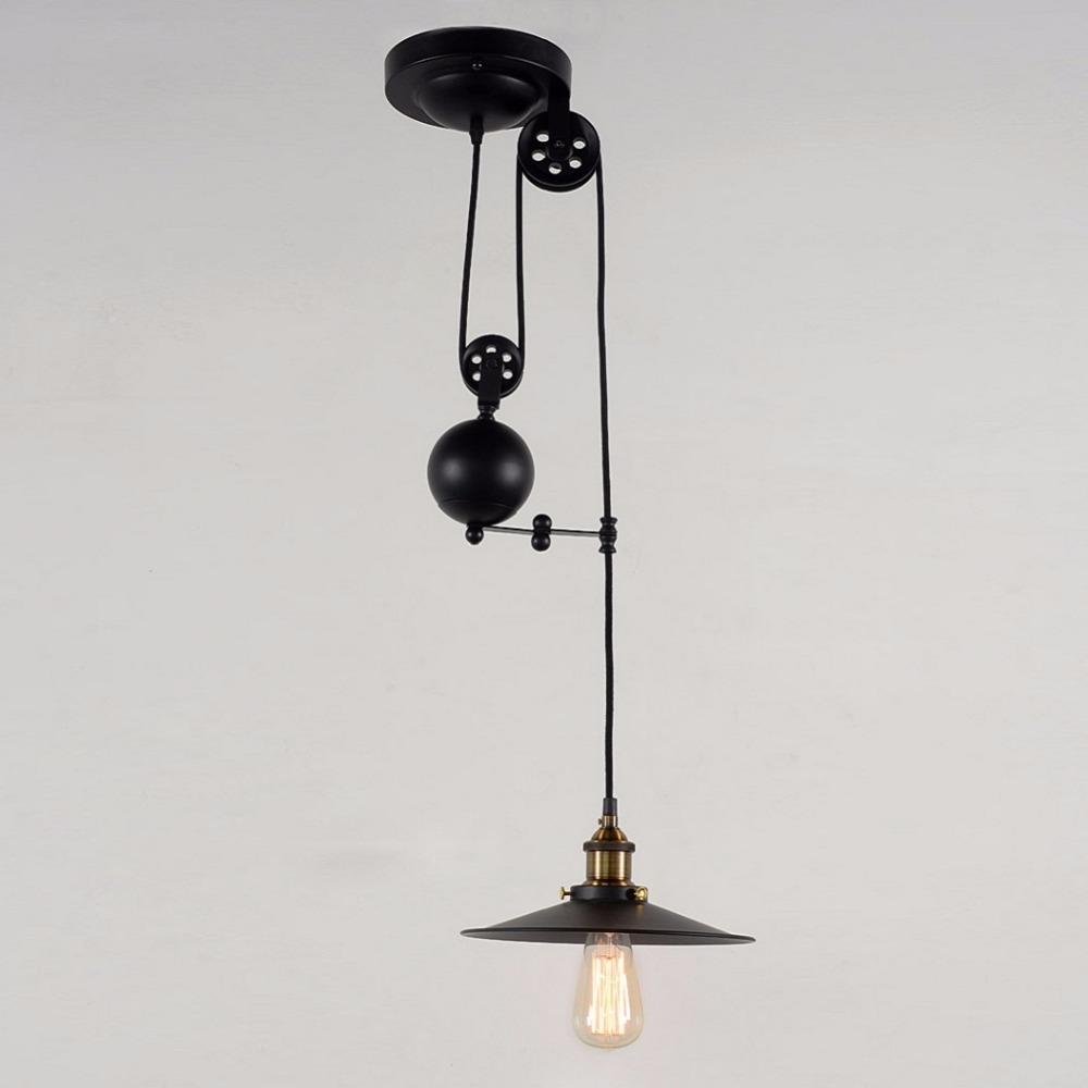 Permo Industrial Loft vintage pendant lights Iron Pulley Pendant Ceiling Lamp Bar Kitchen Home Decor Indoor Lighting Fixtures permo industrial pendant lights loft vintage hanglamp iron pulley pendant lamp bar kitchen e27 edison light fixtures 1 2 3 heads