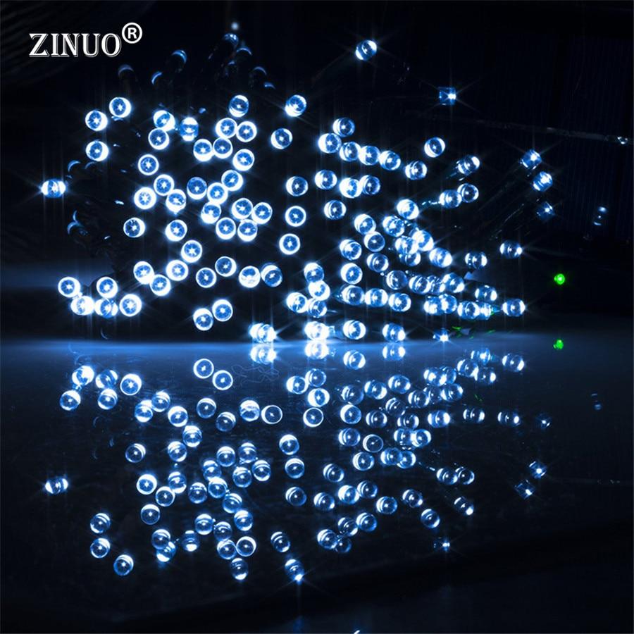ZINUO M 12 m 100 Led luz Solar 2 modos LED cadena luz Navidad exterior Hada cadena lámpara Solar guirnalda Led Año Nuevo Decoración