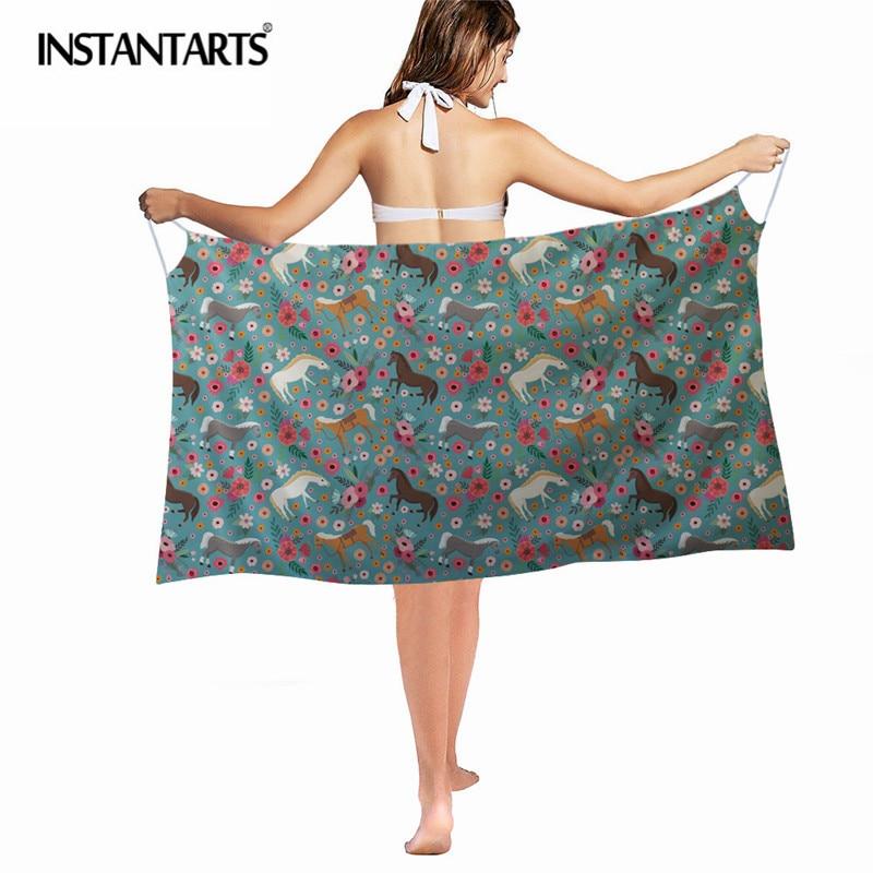 INSTANTARTS 2018 Horse Bikini Cover Pps Sexy Women Swimsuit Bathing Suit Cover Up Wrap Beach Long Dress Kaftan Robe De Plage