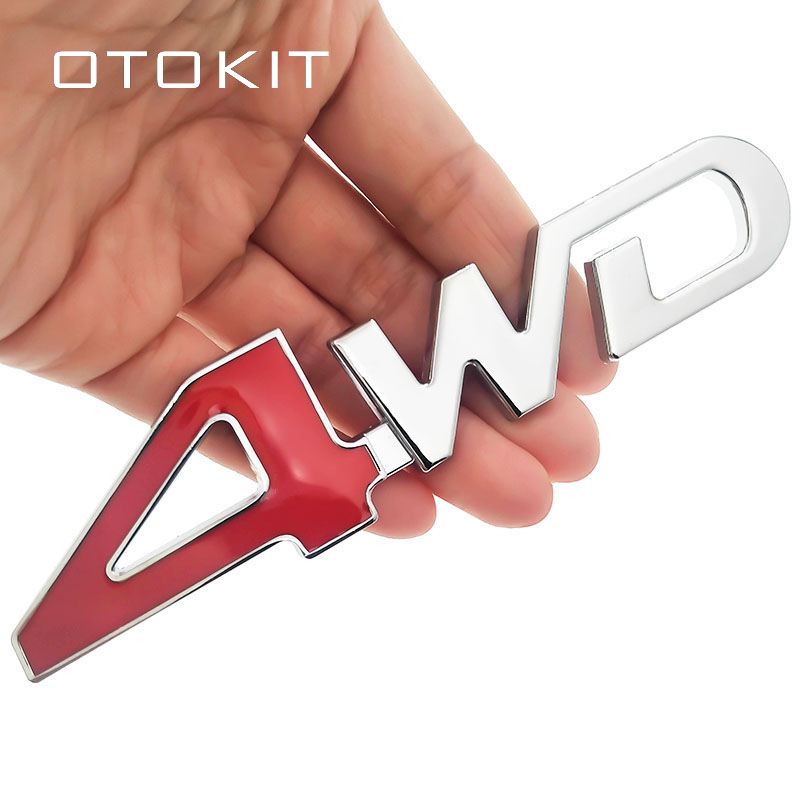 Car Tail Rear Side Metal 4x4 RC Car 4WD Sticker 3D Chrome Badge Car Emblem Badge Decal Auto Decor Styling 4WD Red For SUV Trunk