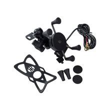 Держатель для мобильного телефона для мотоцикла с рукояткой для велосипеда, USB зарядное устройство для мобильного телефона