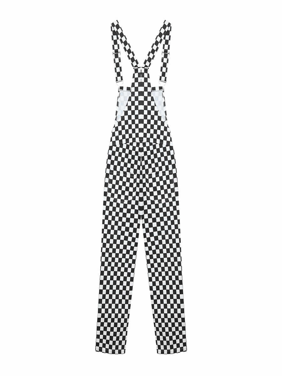 GEZOUR 2018 Новый Ретро Старый Школьный хип-хоп стиль черно-белый клетчатый мозаичный клетчатый комбинезон женское боди, комбинезон