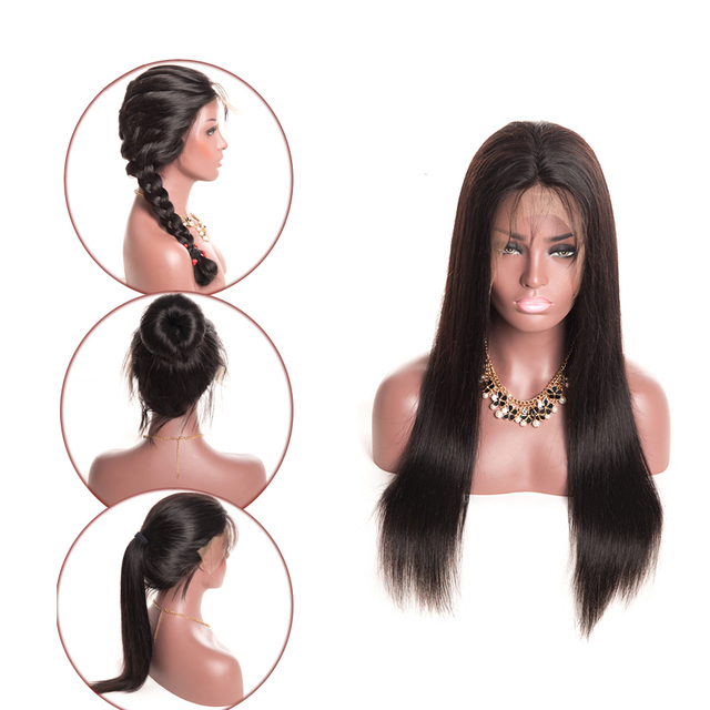 13×6 Straight Lace Front Wig Indian Hair Extension Black Wig Remy Lace Front Human Hair Wigs  Pre Plucked Lace Wig