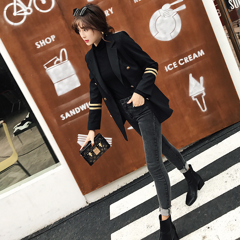 2019 Real Shooting Autumn Suit Long Navy Style Embroidered Women Leisure Blazer Jacket Double Breasted