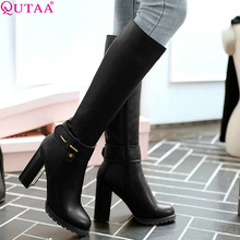 QUTAA Western Style PU leather 2016 Square High Heel Zipper Knee High Boots Women Shoe Motorcycle Boots Riding Boot size 34-43