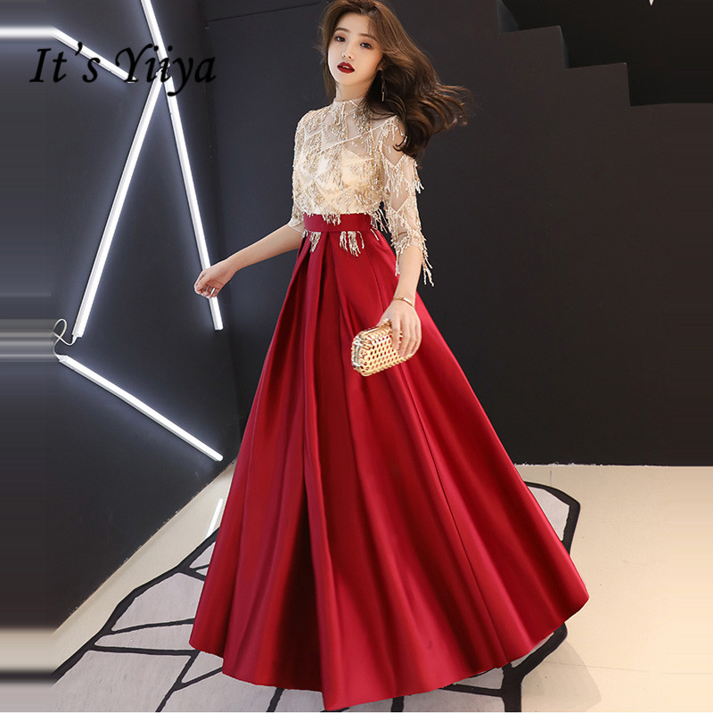 It's YiiYa Evening Dress Fashion Champagne Wine Red Patchwork Color Formal Gown Illusion Tassel Zipper Long Party Dresses E096