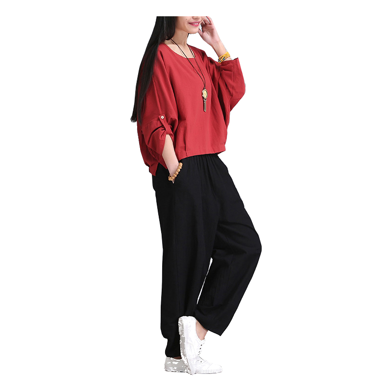 TaiChi Sport Pleated Capris Solid Loose Bloomers W...