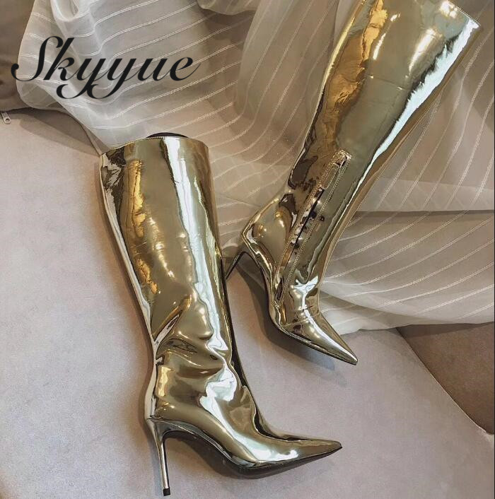SKYYUE New Genuine Leather Zip Side Women Knee HIgh Boots Sexy Pointed Toe Gold Metallic Leather HIgh Heel Boots Shoes Women skyyue new genuine leather pointed toe women boots zip side thin high heel ankle boots shoes women
