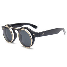 LATASHA  New Arrival Steampunk Sunglasses Women Men Square Double Flip Lens Cover Punk Sun Glasses Clear HD Gradient Shades.01