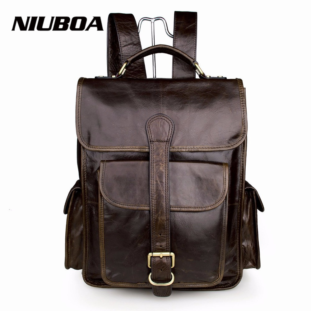 NIUBOA Hot Sell Men's Cowhide Backpacks Fashion 100% Genuine Leather Pack Bags Brand Top Quality Pockets Shoulder Bags Backpacks