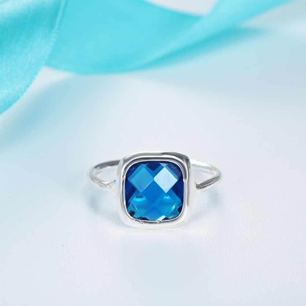 Квадратный синий Кристал CZ женские кольца девушки обручальные свадебные украшения Anillos серебряные массивные кольца праздничный подарок на Рождество