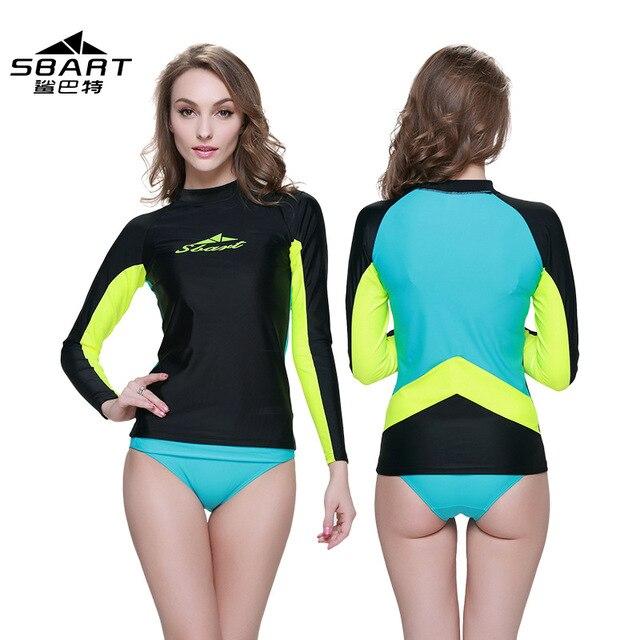 6d50cb115550c9 Womens UV protection water sport beach spandex long sleeve swimming  swimsuit surfing sailing swimwear shirt rashguards