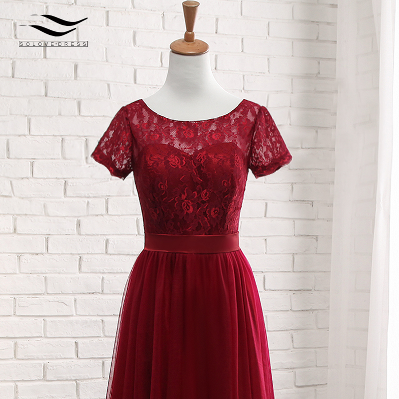 Solovedress Elegant Short Sleeves Cheap A Line Pink Tulle Bridesmaid Dress 2017 Lace With Sash vestido de festa longo SLD-PGE027 15