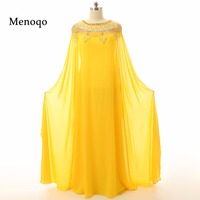 Muslim Evening dresses 3142S 2017 Custom Made Yellow Elegant Women Long sleeve Beaded Chiffon Dubai Abaya Kaftan