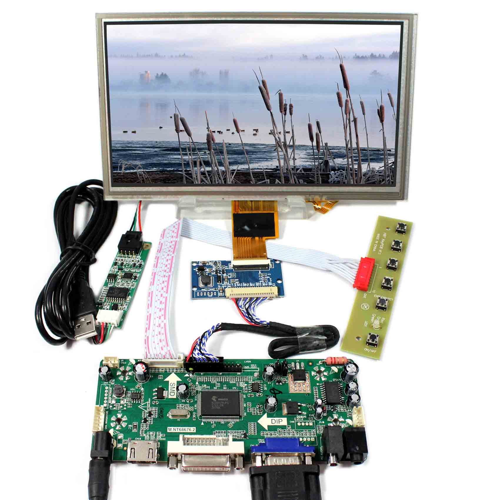 8inch ZJ080NA-08A 1024X600 Touch Screen+HDMI DVI VGA Audio LCD Control Board M.NT68676 8inch zj080na 08a 1024x600 resistive touch lcd screen vga 2av reversing lcd controller board kyv n2 v1