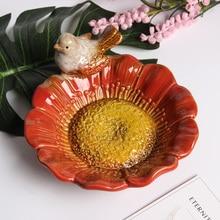 17 cm Diameter Decorate Bowls Dishes Fine Quality Ceramic Value Tableware Luxurious Vintage Bird Plate Wedding decoration plate