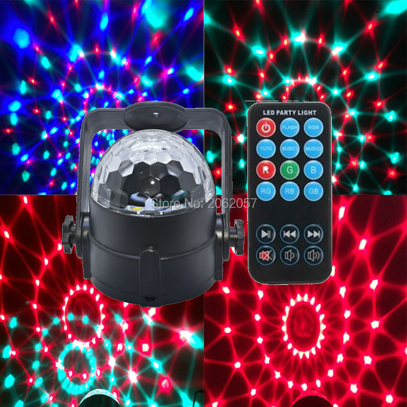 3W remote control RGB crystal magic ball soundlights DJ disco party music light laser projector stage effect lighting