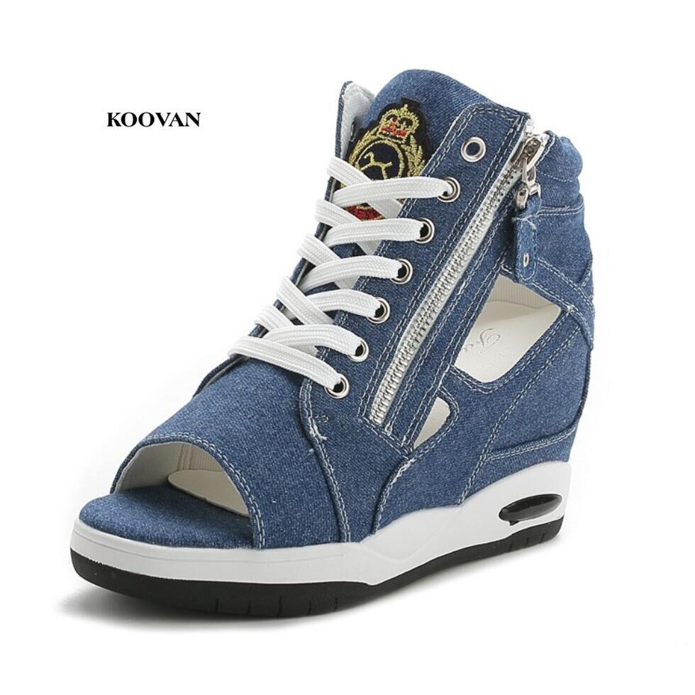 Koovan femmes augmenté sandales 2018 été creux femmes chaussures augmenté épais Denim chaussures décontracté dentelle sandales bottes