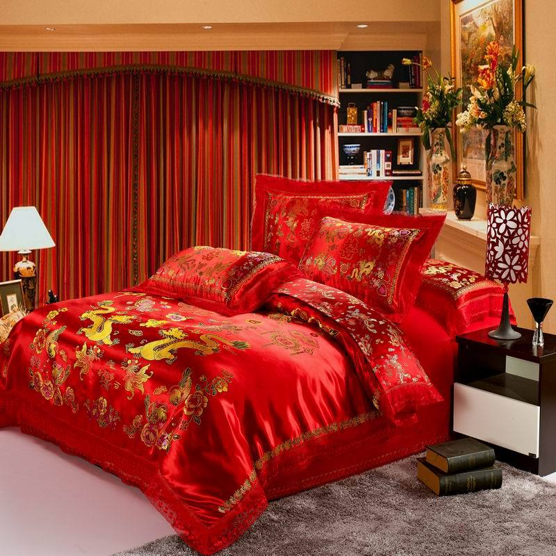 Red Satin Dragon Chinese Wedding Pcs Heart Shaped Luxury Queen King Size Duvet Cover In Bedding