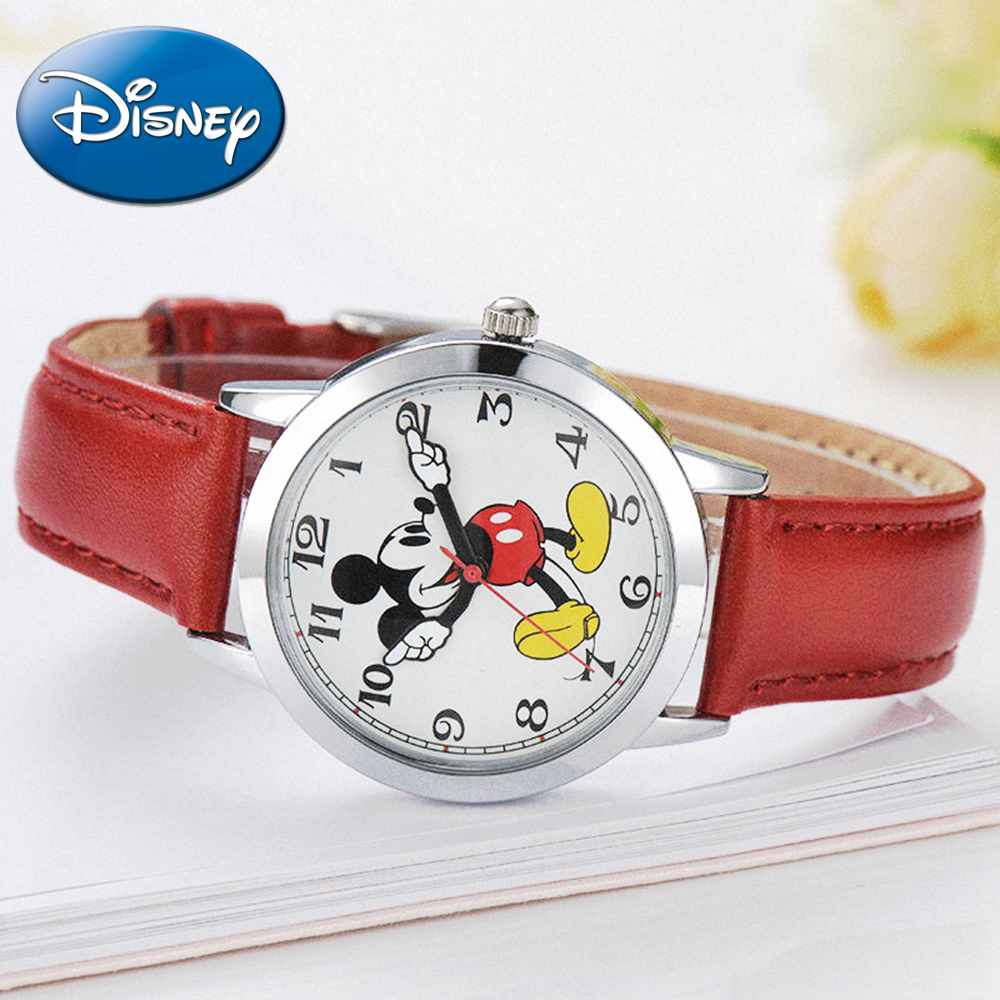 New women Mickey mouse pretty girl love gift charming leather quartz round watch female unbeatable price DISNEY 11027 hour Hot original disney brands girl pretty mickey mouse cartoon lovely watch best fashion casual simple quartz round leather watches