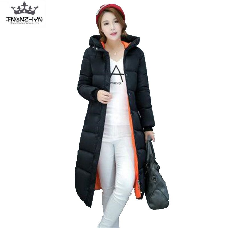 2017 New Winter Down Cotton Jacket Parka Women Slim Thicken Warm Wadded Jacket Hooded Big Yards Long Winter Coat Outerwear A1218