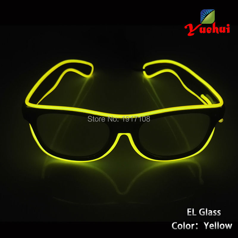 2017 Hot Sale The dance of glasses Yellow color LED Flashing Light Luminous Party Glasses For Bar Party Free Shipping