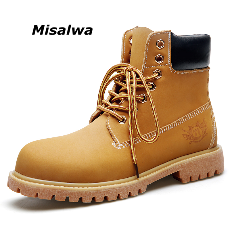 Misalwa 2018 Nouveau Jaune Bottes Hommes Hiver Automne Casual Bottes de Travail Cheville Hommes Bottes Plus La Taille 38-46 Livraison gratuite