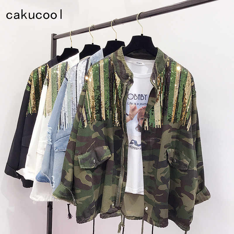 6a48bbb66 Cakucool Boho Camouflage jacket Female Sequins Shinny Lace up Jeans Coat  Bomber Jacket Long Sleeves Jean