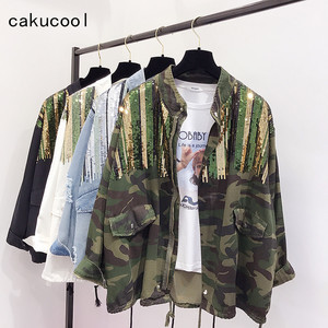 Cakucool Boho Camouflage jacket Female Sequins Shinny Lace up Jeans Coat Bomber Jacket Long Sleeves Jean Colete Feminino Large(China)