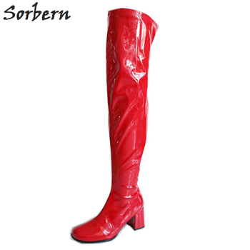 Sorbern Fashion Over The Knee Boots Women Low Chunky Heels Square Toes Ladies Boot Custom Wide Calf Leg Girls Shoes Unisex Boots