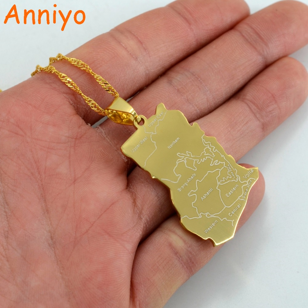 Anniyo Gold Color Ghana Map Pendant Necklacess