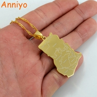 Ghana Map Pendant Necklaces Gold Plated Charm Jewelry 007521