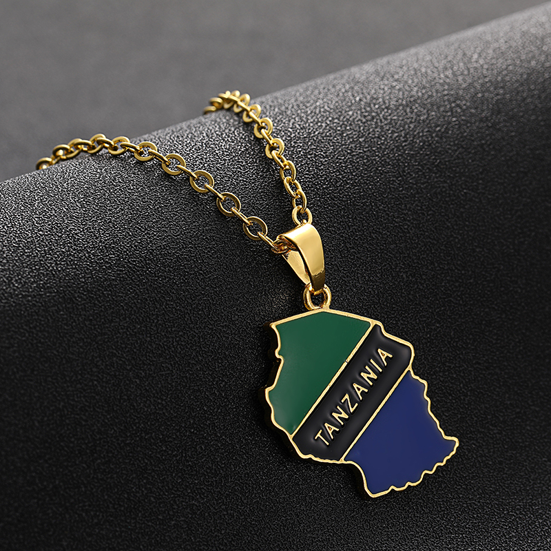 Tanzania Country Map Pendant Flag Necklaces For Women Men Gold Jewelry Gifts