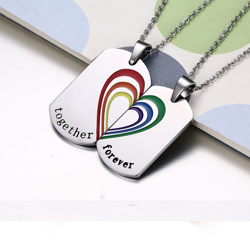 FUNIQUE Fashion Lettering Carving Together Forever Pendant Neckalces Titanium Steel Splicing Heart Gifts To Lovers Chain LGBT