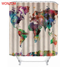 WONZOM Map Shower Curtains Bathroom Waterproof Accessories With 12 Hooks For Decor Modern Landscape Bath Curtain Gift