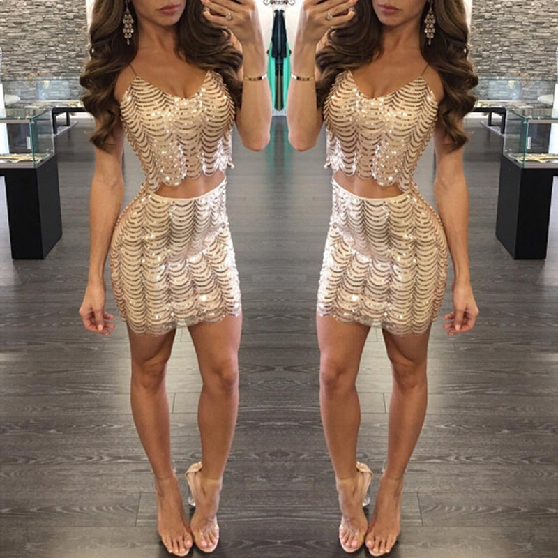 Sexy Two-piece Sequins Homecoming Dresses Robe Party 2019 Black Short Vestidos Mini Sequined Golden Cheap Women Gown