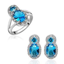 INALIS Extravagant Party jewlery set for lady Ring And Earrings Fashion Big Crystal set AAA Zircon Engagement vintage fashion