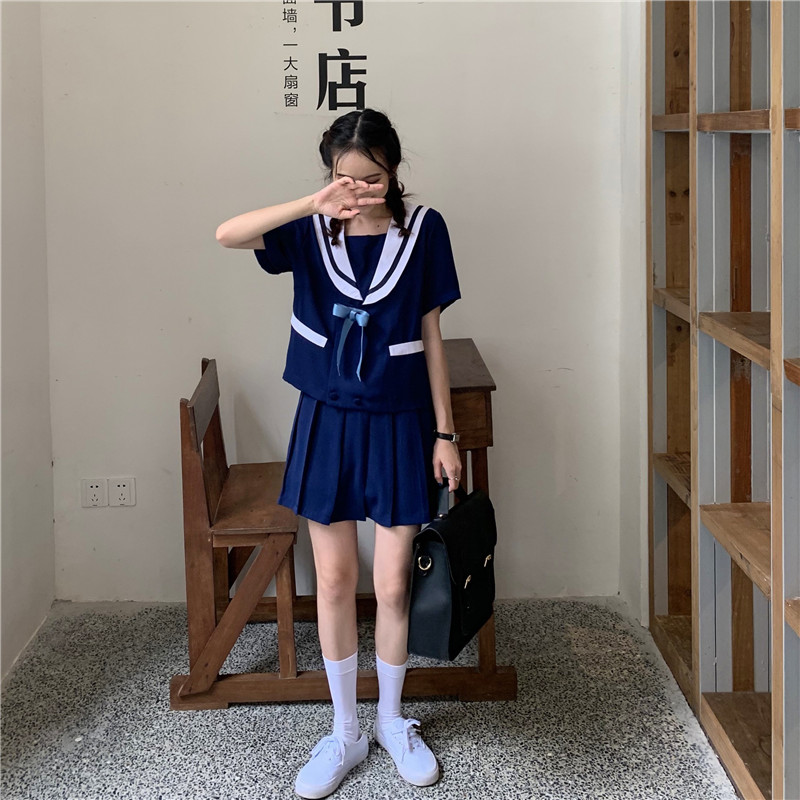 Two Piece Sets for Women 2019 Japan Preppy Style Girls Cute Sailor Suits Navy Top Bow Knot Tees + Short Pleated Skirt