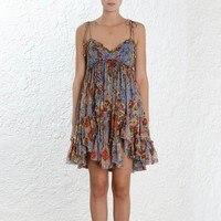 Для женщин Цветочный Слип мини платье шелк рюшами без рукавов с открытой спиной сексуальная раза летние платья розового и синего цвета