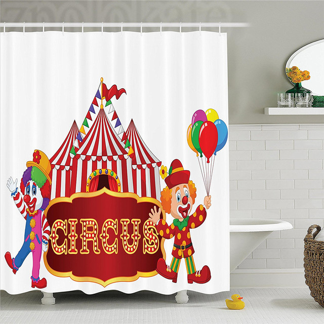 Circus Tent With Clown Advertisement Event Man Billboard Waving Classic Image Polyester Bathroom Shower Curtain