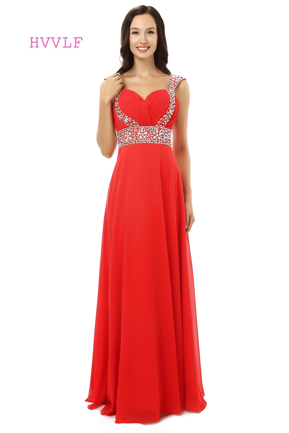 Red Robe De Soiree 2019 A-line Sweetheart Cap Sleeves Chiffon Beaded Crystals Women Long   Prom     Dresses     Prom   Gown Evening   Dresses