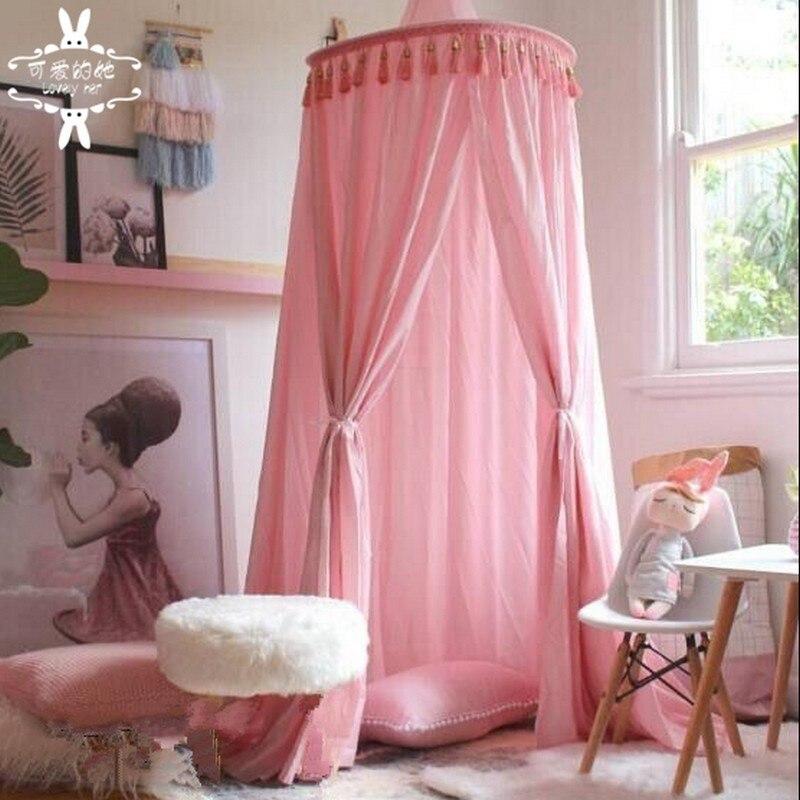 Coton bébé chambre décoration boules moustiquaire enfants lit rideau auvent rond berceau filet tente photographie accessoires baldaquin 240 cm