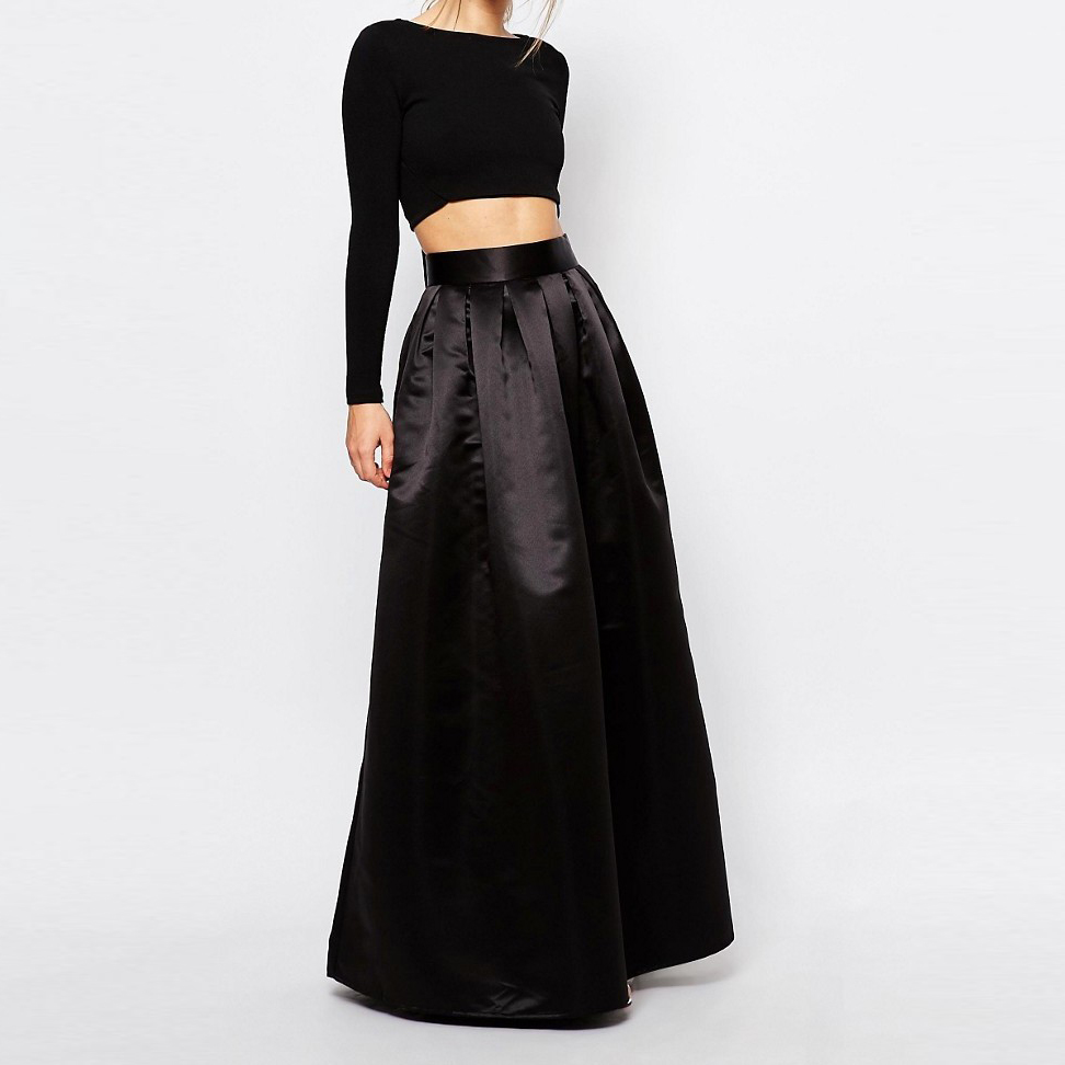 Classical Black Long Maxi Skirt Wide Zipper Waistline A Line Floor Length  Pleated Skirt With Pockets Personalized Women Skirts  In Skirts From  Womenu0027s ...