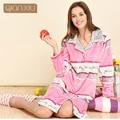 Qianxiu Marca Pijamas de Invierno Suave Espesar Albornoz Bata Larga de Las Mujeres Más Tamaño Ropa de Dormir