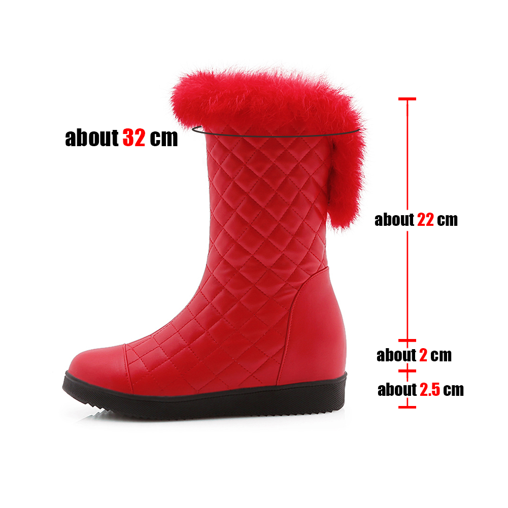 DoraTasia New Popular Women Snow Boots Faux Fur Increased Heels Warm Fur Inside Solid Winter Boots Female Shoes Woman 31-41 43