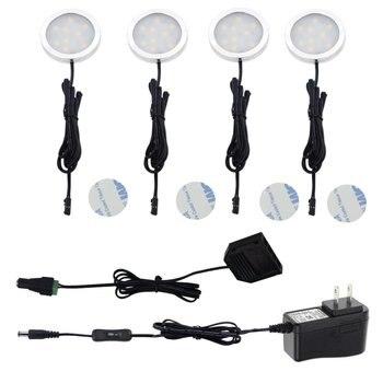 Aiboo светодиодный светильник под шкафом с 2-ходовым переключателем 4 лампы 12V US/EU/UK адаптер кухонный Прилавок Полка для шкафа освещение